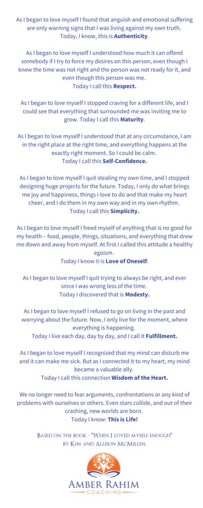 amber rahim coaching poem love myself decision paralysis